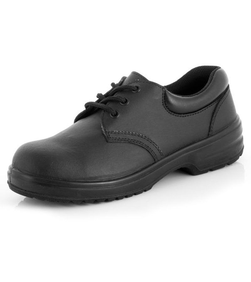 Ladies Lace Up Black Safety Shoes