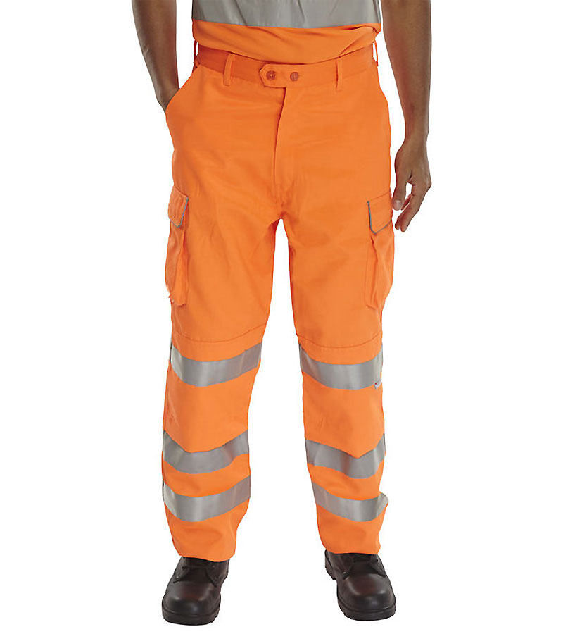 Orange High Visibility Polycotton Cargo Trousers Hi Vis Viz size 32