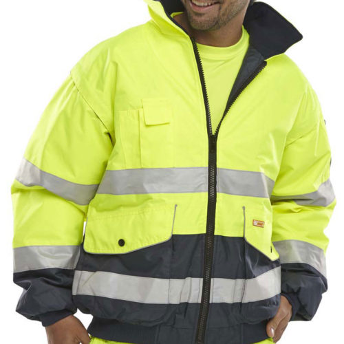 safety workwear yellow navy high vis jacket